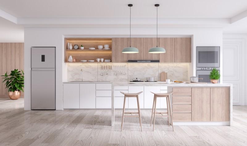 ترکیب رنگ های دیگر با رنگ سفید کابینت آشپزخانه